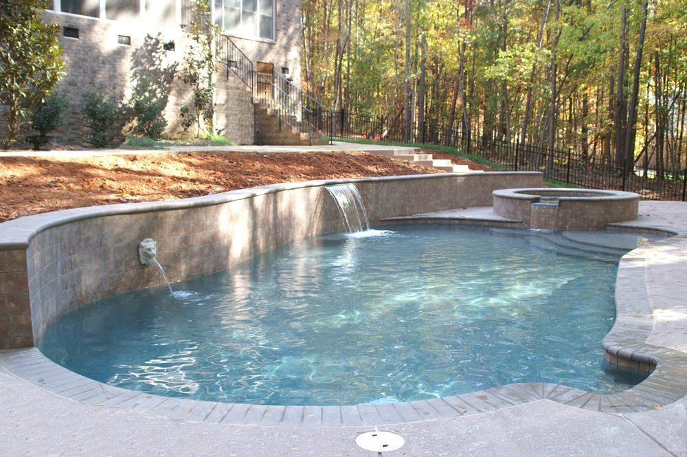 Freeform Pool With Walls Carolina Custom Pools Charlotte Nc